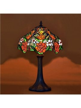 Luxury Tiffany Table Lamps with Gorgeous Rose Decoration