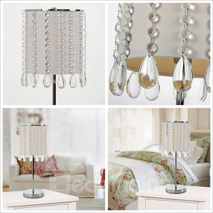 Deluxe Crystal Bead Curtain with 1 Light Table Lamps