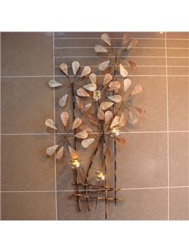 Retro Wrought Iron Wall Hanging Canle Holders