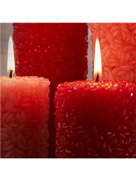 Red Rose Candle For Wedding And Lovers