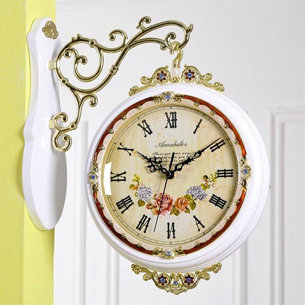 Rustic Quartz Double Faces Wall Clock