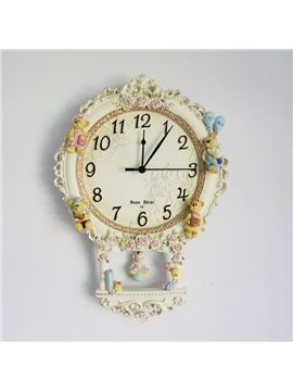Little Bear Resin Mute Emboss Rustic Wall Clock  (10489168)