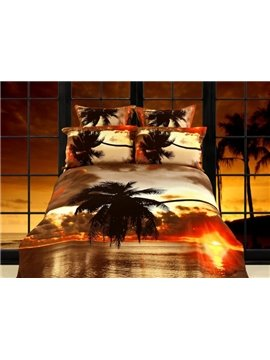 Glamorous Seaside Scenery at Dusk Printing 4 Piece Cotton Bedding Sets