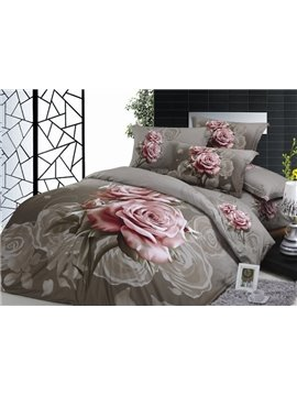 Dun Brown Elegant Pink Rose 4 Piece Print Cotton Bedding Sets