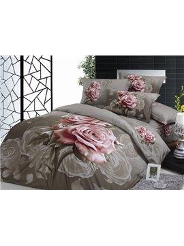 Dun Brown Elegant Pink Rose 4 Piece Print Cotton Bedding Sets