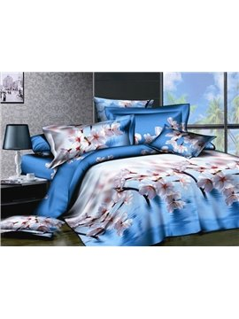 Finery Light Blue 4 Piece Cotton Bedding Sets with Peach Blossomes