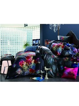 Charming 4 Piece Colorful Florals Print Duvet Cover Sets with Cotton