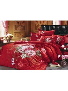 Fabulous Cotton Lush Flowers Bright Red 4 Piece Cotton Bedding Sets