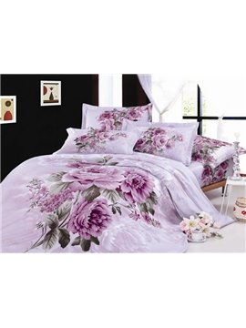 Superior Quality Whole Cotton 4 Piece Little Purple Peony Print Bedding Sets