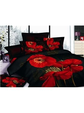 Rlluring Black 4 Piece Cotton Bedding Sets with Red Flowers