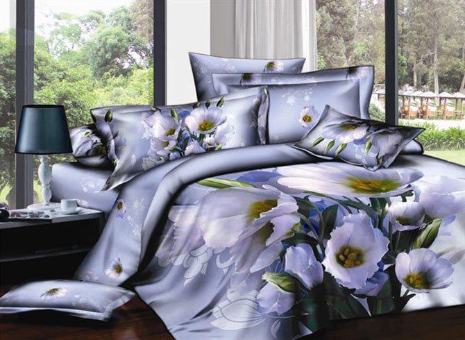 Elegant Poppy 3D Printed 4-Piece Cotton Duvet Cover Sets