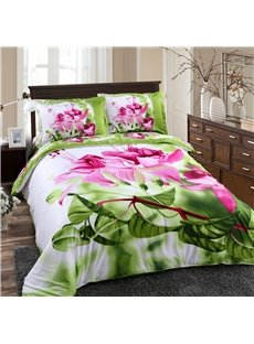 Debonaire 4-Piece Cotton Bedding Sets with Pink Flowers Green Leaves
