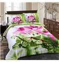 Debonaire 4 Piece Cotton Bedding Sets with Pink Flowers Green Leaves  (10489310)