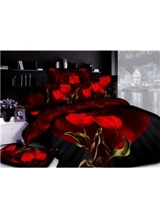 4-Piece Printed Bedding Sets with  Seductive Red Tulips