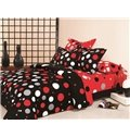 Stylish Red and White Dot 100% Cotton 4 Piece Bedding Set (10489374)