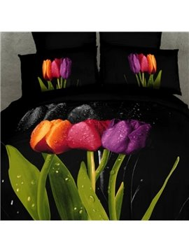 Charisma Black 4 Piece Tulips with Dewdrop Active Printing Cotton Bedding Sets