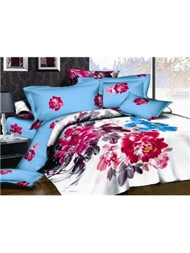Lily 4 Piece Cotton Bedding Sets with Peony