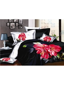 Provicative Black with Titoni 4 piece Cotton Bedding Sets of Princess