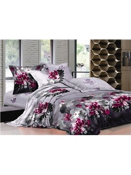 Pink Chinese Ink and Wash Printed 4 Piece Bedding Sets with Cotton