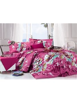 Fashion Rose-red 4 Piece Cotton Bedding Sets with Floral Print