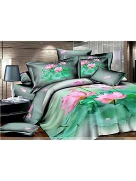 Pink Lotus and Verdurous Leaves 4 Piece Bedding Sets with Cotton
