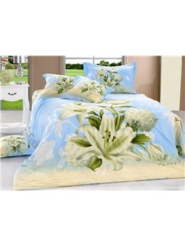 Blooming White Daffodil and Wash Printed 4 Piece Cotton Bedding Sets