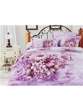 4 Piece Lilac Cotton Duvet Cover Bedding Sets with Brilliant Peony Blossom