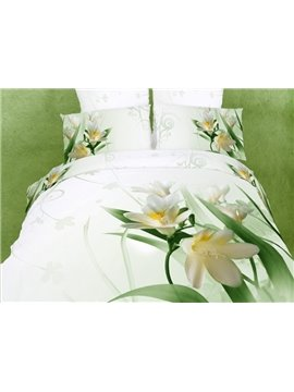 Graceful White Cotton Magnolia Flowers Printing 4 Piece Comforter Bedding Sets