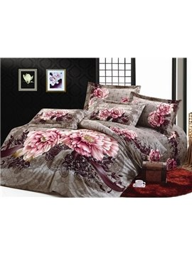 Elegant Brown Whole Cotton Pink Peony Printed 4 Piece Bedding Sets