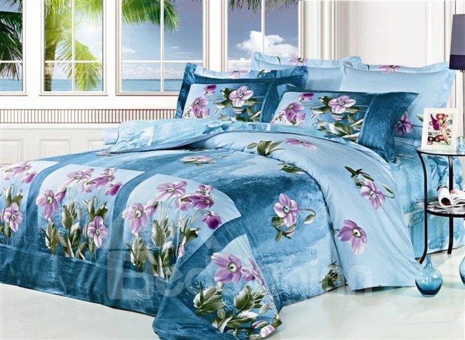 Attractive Light Purple 4 Piece Cotton Duvet Cover Bedding