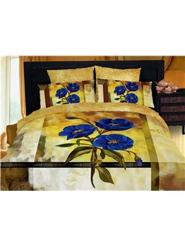 Exquisite Blue Floral 4 Piece Golden Cotton Duvet Cover Bedding Sets