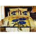 Exquisite Blue Floral 4 Piece Golden Cotton Duvet Cover Bedding Sets (10489523)