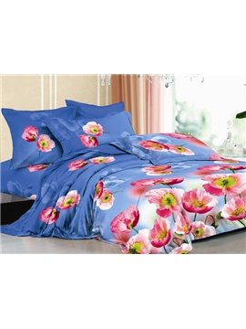 Light Blue Bedding Sets with Pink Flowers Printed