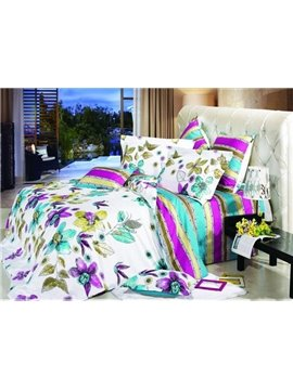 Colorful Flowers and Leaves 4 Piece Active Print Bedding Sets with Cotton
