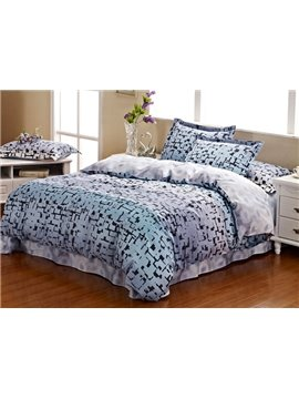 Cities Style Grey 4 Piece Active Print Bedding Sets with Cotton