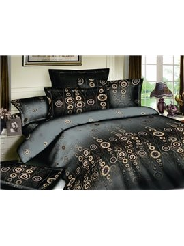 unique Wash Printed Black with polka dot 4 Piece Cotton Bedding Sets