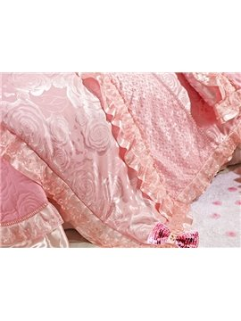 Fairytale Pink Jacquard Percale Flower 6 Piece Bedding Sets
