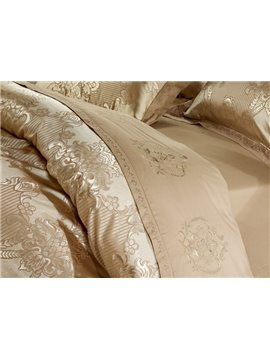 High Quality Silk-like Camel Jacquard 6 Pieces Duvet Cover Bedding Sets (10489751)