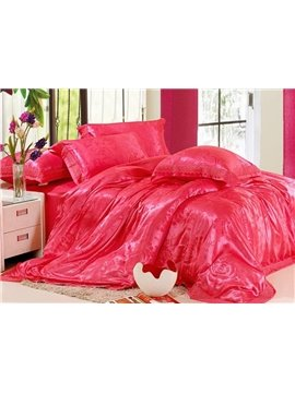 Comfortable 6 Piece Silk Cotton Bedding Sets with Brick Red Flowers