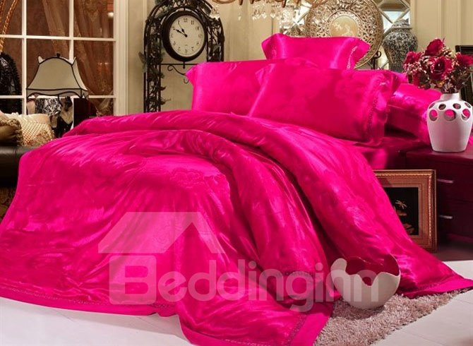 Swoonsome Rose-red Floral Jacquard 4 Piece Duvet Cover Bedding Sets (10489787)