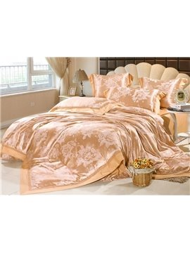 Wonderful Floral Jacquard 6 piece Duvet Cover Bedding Sets with Silk Cotton