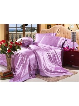Serious Lilac Floral Jacquard 6 Piece Silk Bedding Sets