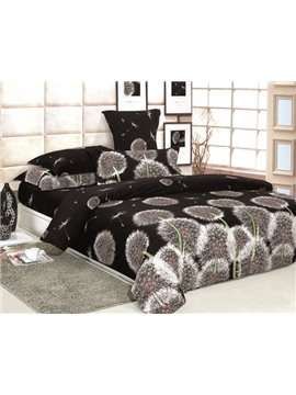 Charisma Brown Dandelion Flying 4 Piece Printed Bedding Set