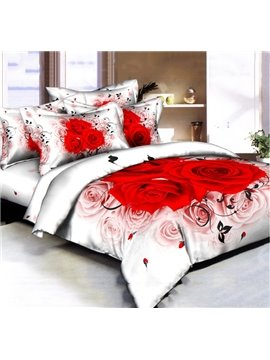 White and Red Rose Printed 4 Piece Comforter Set Queen