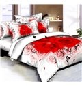 White and Red Rose Printed 4 Piece Bedding Sets
