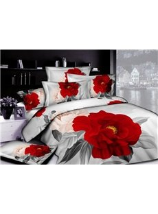 Gorgeous 3D Red Peony Printed 4-Piece Cotton Duvet Cover Sets