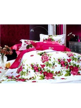 Red Peony With Green Leaves Duvet Cover 4 Piece Bedding Sets