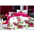 Red Peony With Green Leaves Duvet Cover 4 Piece Bedding Sets (10489860)