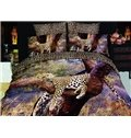 4 Piece Sleeping Leopard Print Bedding Full Queen Size (10489861)
