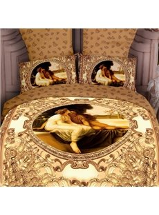 4 Piece Luxury Yellow Famous Painting Print Bedding